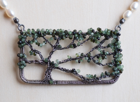 Oak Tree Necklace -- Tourmaline