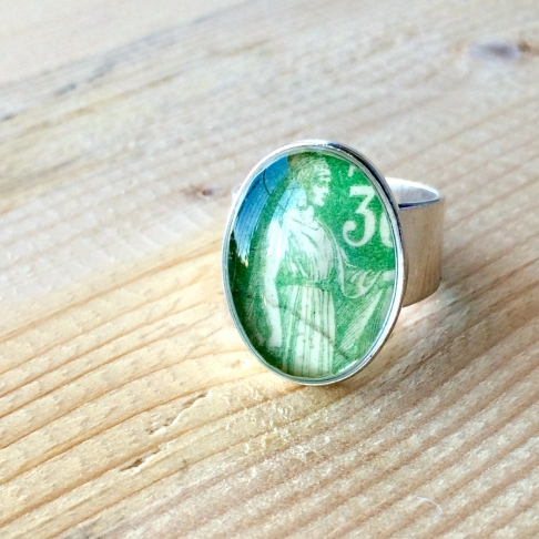 French Postage Stamp Ring