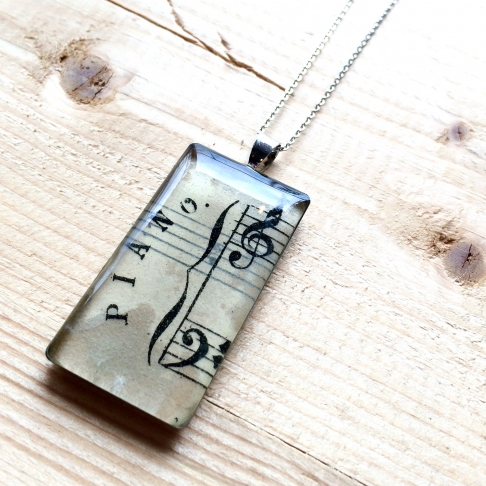 Piano Sheet Music Pendant