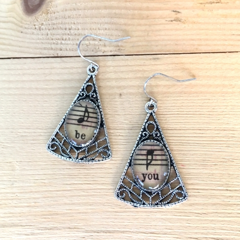 Triangular Be You Sheet Music Earrings