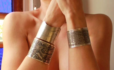 Bayou St. John Etched Cuff Bracelet in Sterling Silver