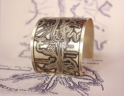 Mississippi River Etched Cuff Bracelet in Sterling Silver