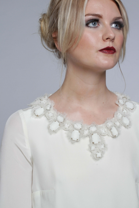 Silk Blouse with Beaded Neckline