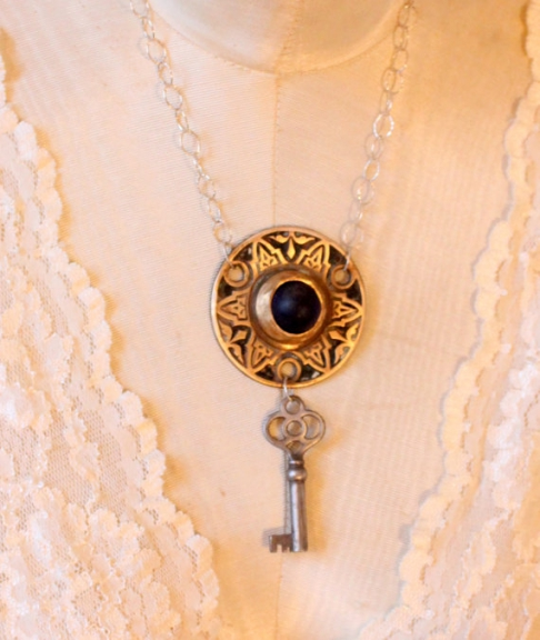 Antique Bronze Rosette Necklace with Sterling Silver, Skeleton Key, Blue Marble