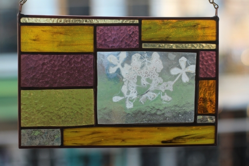 Golden Hydrangea Enverre with Stained Glass