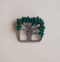 Oak Tree Pin - Jade