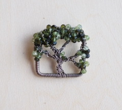 Oak Tree Pin - Tourmaline