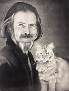 Alan Watts with Alan the Cat