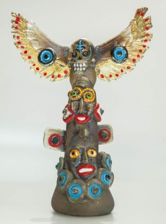 6-Face Bird Totem with Blue Smile