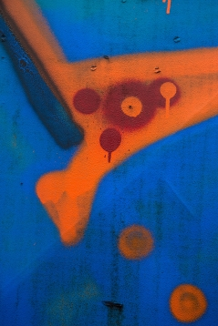 Orange Shape - Blue Field Abstract
