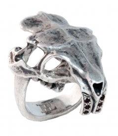 Coypu Skull Ring w/ Black Diamonds