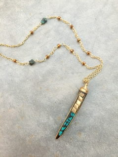 Long Necklace with Turquoise Tusk