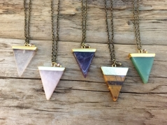 Quartz Triangle Necklace