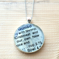 Gumbo Recipe Pendant Necklace