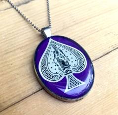 Ace of Spades Pendant in Purple