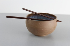 Brown and Blue noodle bowl