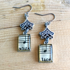 White Lace Sheet Music Earrings
