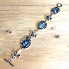 French Postage Stamp Bracelet in Blue
