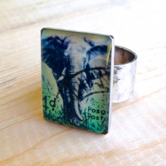 Elephant Postage Stamp Ring