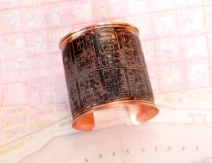 Bywater/St. Claude Copper Etched Cuff Bracelet