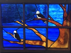 Mourning Dove, stained glass window