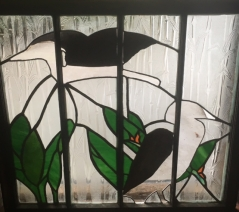 Egret stained glass window