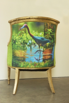 Louisiana Blue Heron Gold Leafed Chair