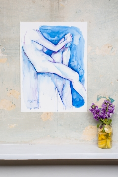 Figure Study in Blue and Purple