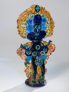 Mardi Gras Indian Ruby Gold Blue