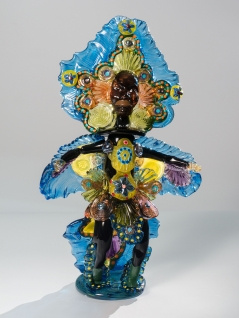 Mardi Gras Indian Queen Blue Green Ruby