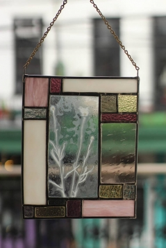 Stained Glass with Cornflower