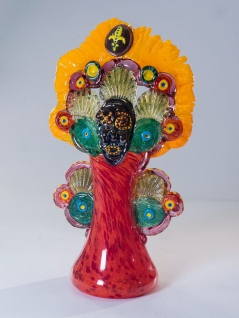 Mardi Gras Indian Vase in Orange