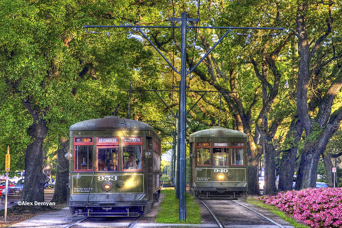 """New Orleans Street Cars: """"St. Charles Ave. Streetcars"""" By Alex Demyan"""
