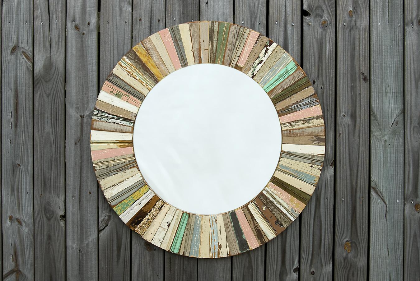 Where y 39 art solar mirror by david bergeron for Miroir 90x70 bois