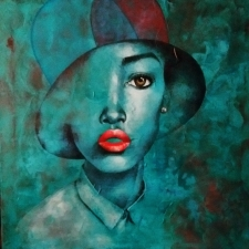 Smart Girl in a Fickled Hat (Original Painting) / Main Image