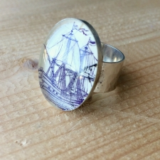 Purple Sails Postage Stamp Ring / Main Image