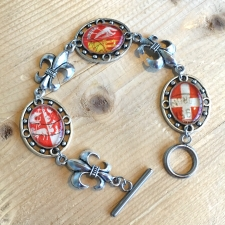 French Postage Stamp Bracelet in Red / Main Image