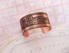 Copper French Quarter (Toulouse St.) Etched Cuff Bracelet