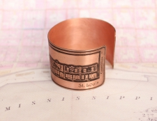 Copper French Quarter (Toulouse St.) Etched Cuff Bracelet - St. Louis St. View