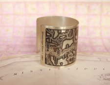 Mississippi River Etched Cuff Bracelet in Sterling Silver - side view