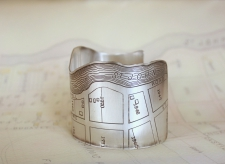 Bayou St. John Etched Cuff Bracelet in Sterling Silver - Side view