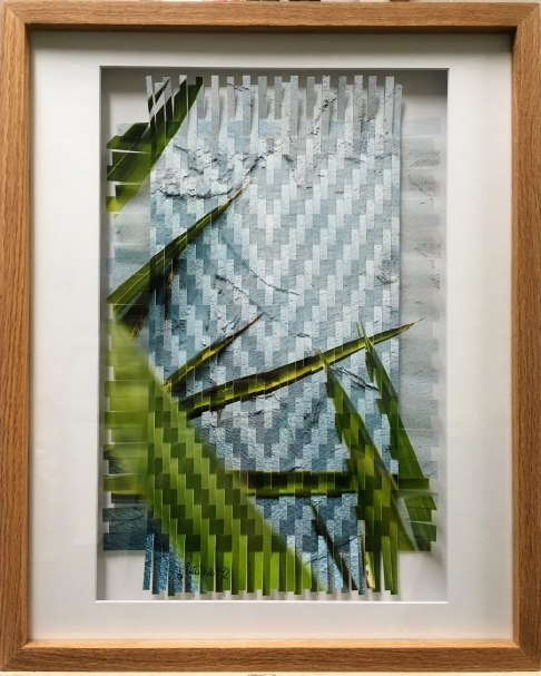 Blue Stucco Photo Weave Framed in Oak Frame
