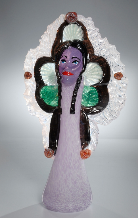 Violet Queen Mardi Gras Indian Vase