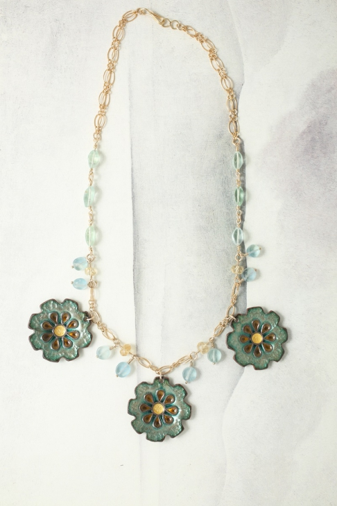 Daisy Cloisonné Necklace (Reversible)
