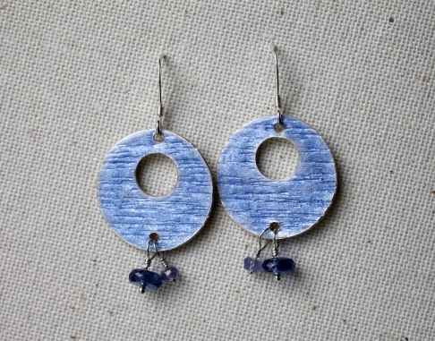 Heron Blue Disc Earrings