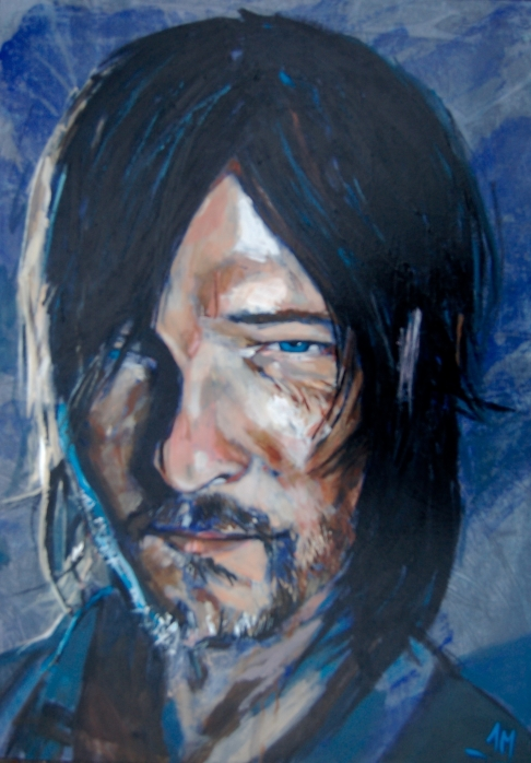"""live"" painting of Norman Reedus"