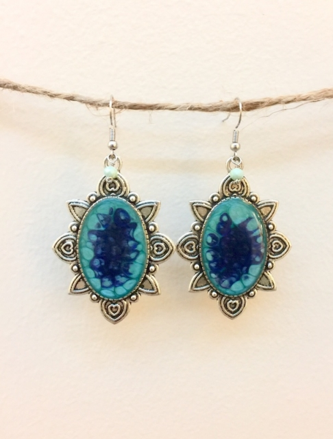 Turquoise Hand Painted Earrings