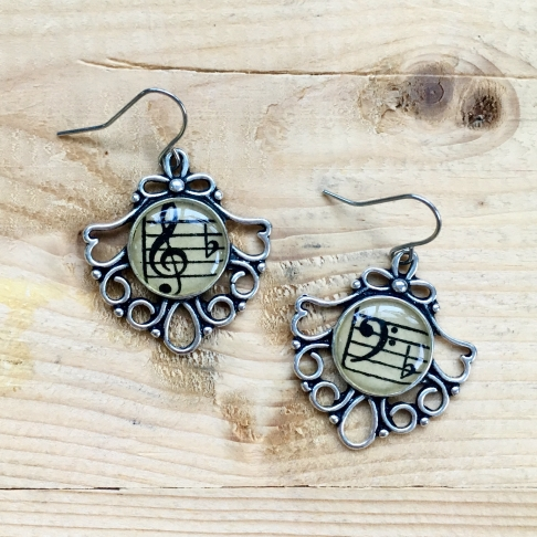 Fancy Treble & Bass Clef Earrings
