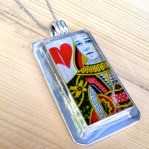 Queen of Hearts Playing Card Necklace