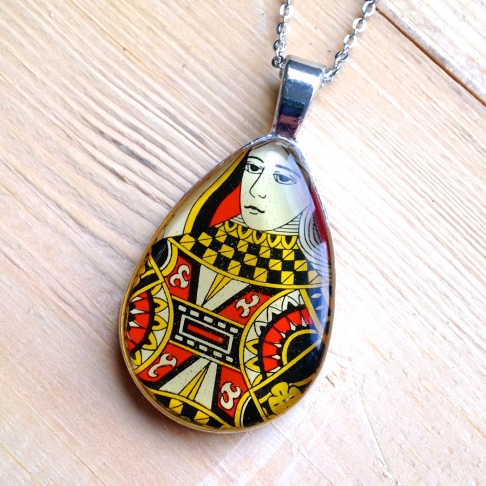 Teardrop Queen Playing Card Necklace